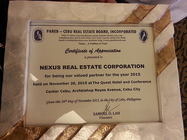 NREC Receives Award from PAREB-CEREB
