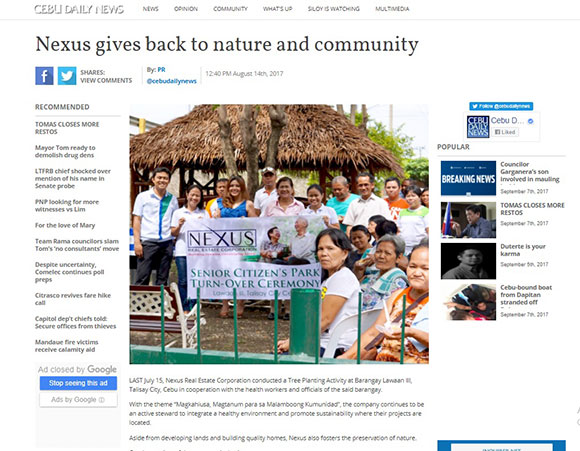 Nexus gives back to nature and community