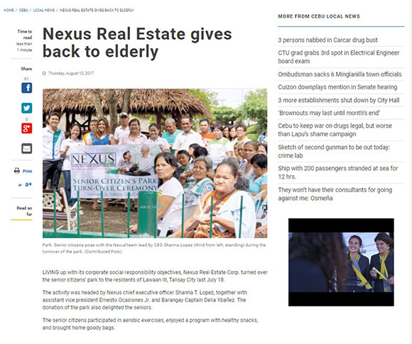 Nexus Real Estate gives back to elderly