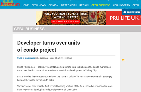 Developer turns over units of condo project