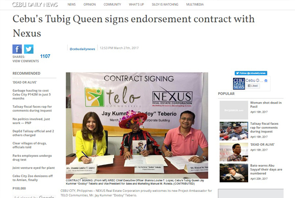 Cebu's Tubig Queen Signs Endorsement Contract With Nexus